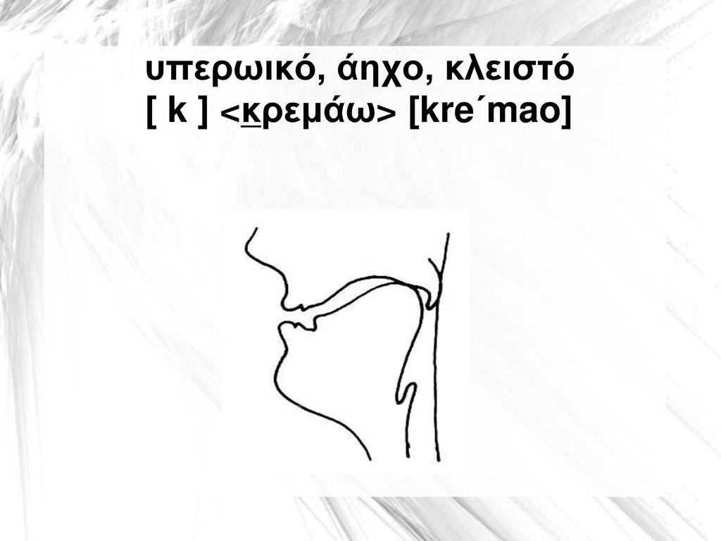 υπερωικό, άηχο, κλειστό [ k ] <κρεμάω> [kre΄mao]